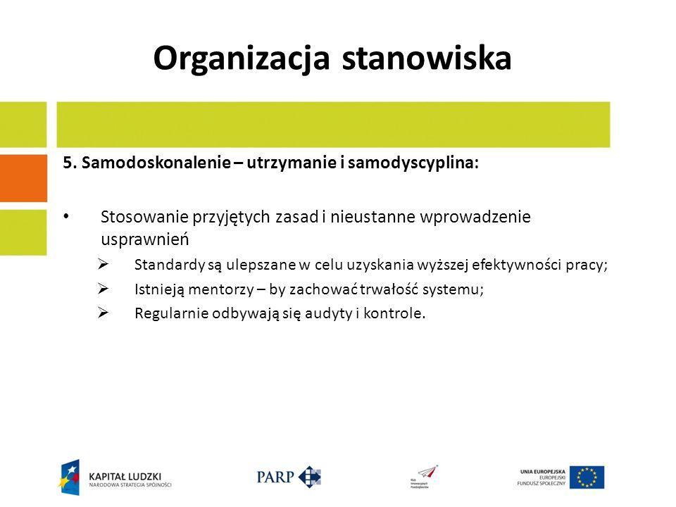 Organizacja stanowiska 5. Samodoskonalenie – utrzymanie i samodyscyplina: Stosowanie przyjętych zasad i nieustanne wprowadzenie usprawnień Standardy s