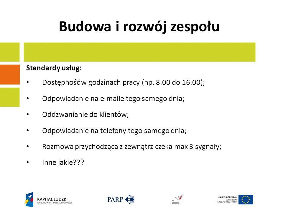 Budowa i rozwój zespołu Standardy usług: Dostępność w godzinach pracy (np. 8.00 do 16.00); Odpowiadanie na e-maile tego samego dnia; Oddzwanianie do k