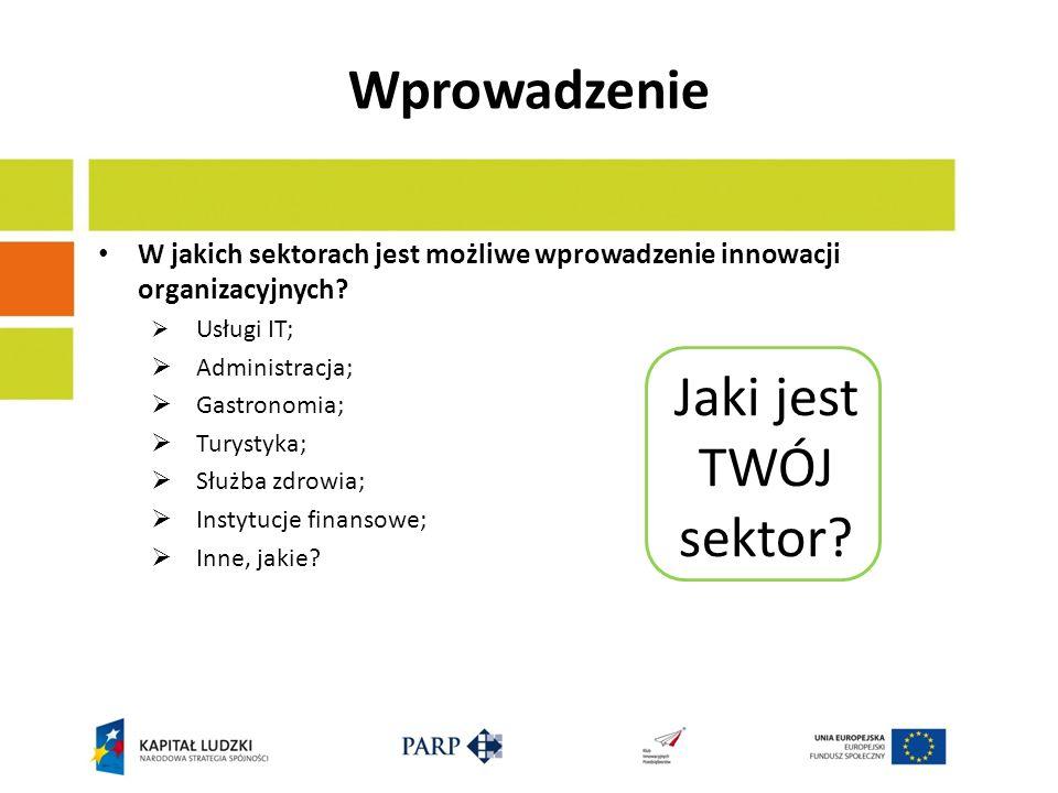 Wprowadzenie W jakich sektorach jest możliwe wprowadzenie innowacji organizacyjnych? Usługi IT; Administracja; Gastronomia; Turystyka; Służba zdrowia;