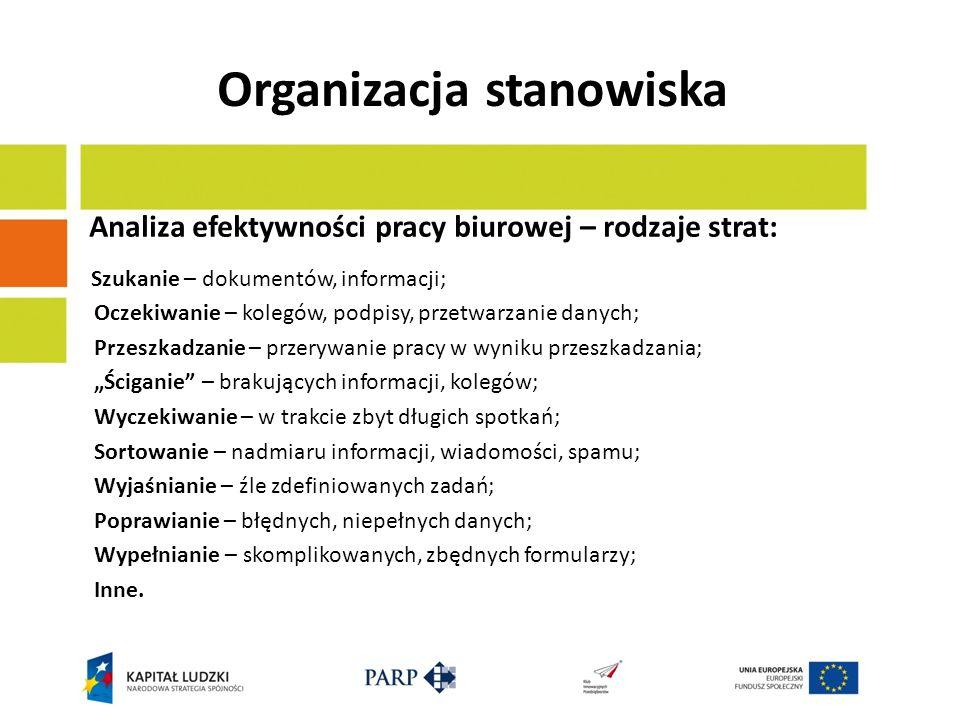 Organizacja stanowiska Analiza efektywności pracy biurowej – rodzaje strat: Szukanie – dokumentów, informacji; Oczekiwanie – kolegów, podpisy, przetwa