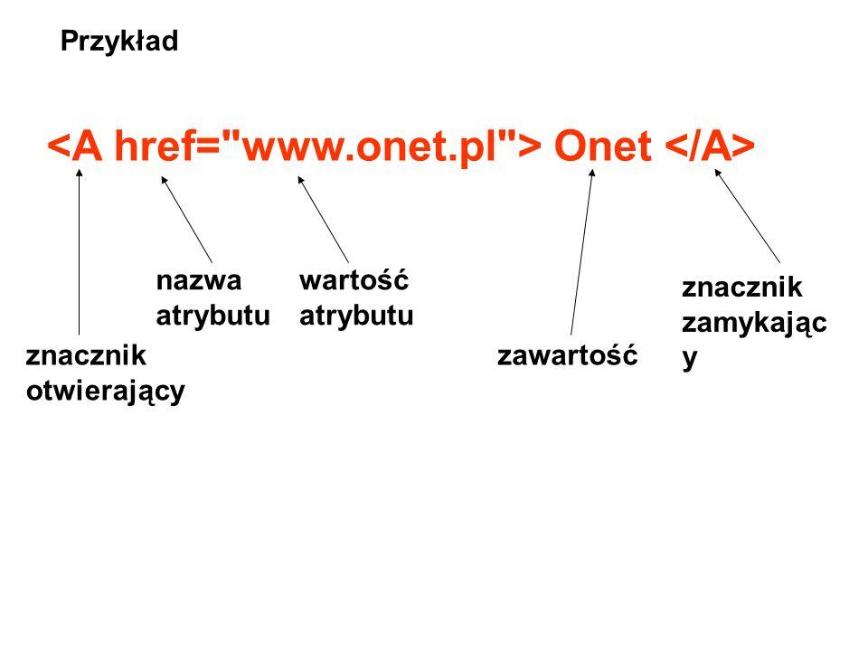 Znaczniki (tagi) – postać ogólna Tytuł w nagłówku okna Tu są elementy pojawiające się na stronie STRUKTURA dokumentu HTML zawartość konfiguracj a treś