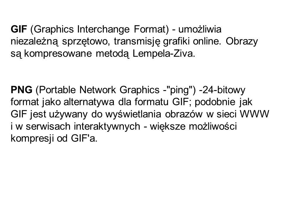 PDF – jest używany przez program Adobe Acrobat, STANDARDY PLIKÓW GRAFICZNYCH JPEG (Joint Photographic Expert Group) - umożliwia stratną jak i bezstrat