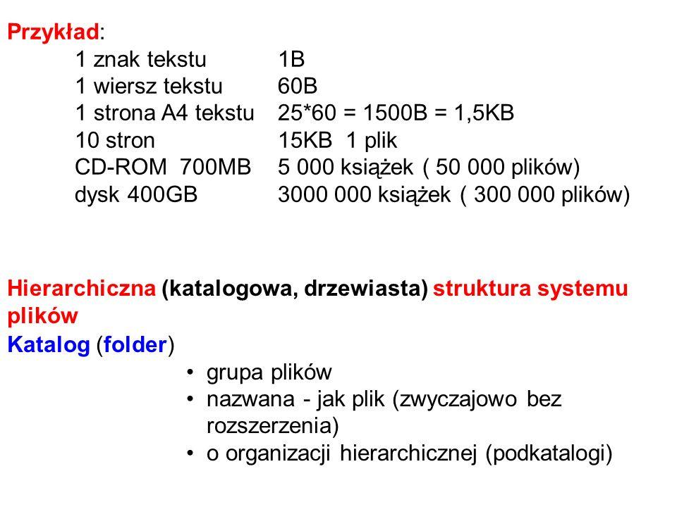 Przykład: 1 znak tekstu1B 1 wiersz tekstu60B 1 strona A4 tekstu25*60 = 1500B = 1,5KB 10 stron15KB1 plik CD-ROM 700MB5 000 książek ( 50 000 plików) dysk 400GB3000 000 książek ( 300 000 plików) Katalog (folder) grupa plików nazwana - jak plik (zwyczajowo bez rozszerzenia) o organizacji hierarchicznej (podkatalogi) Hierarchiczna (katalogowa, drzewiasta) struktura systemu plików