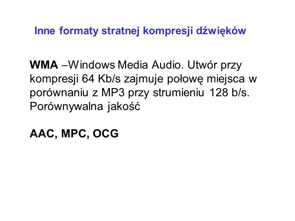 mp3 Kompresja innych mediów kompresja z wkalkulowaną stratą jakości (m.in. usuwanie b. wysokich i b. niskich częstotliwości, cichych dźwięków)