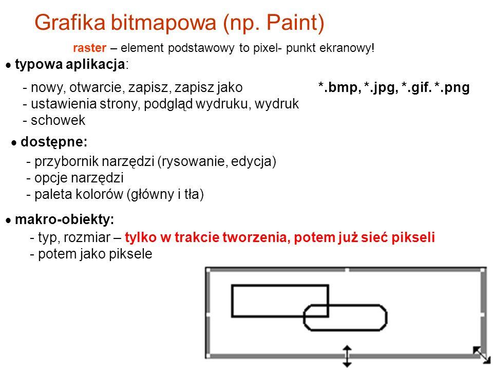bitmapowa (rastrowa) - np. Paint, Photoshop wektorowa – np.Corel, narzędzia w pakiecie Office Grafika Główny podział: