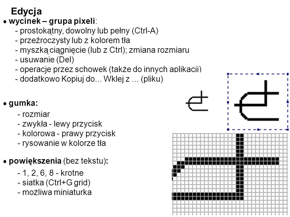 - linia pozioma, pionowa lub pod 45 0 - prostokąt kwadrat - elipsa okrąg Figury + tekst kolory - główny i tła: szczególne figury - Shift: udogodnienia