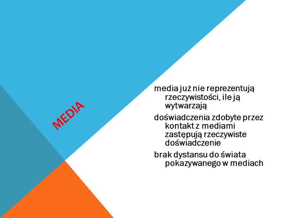MEDIA media już nie reprezentują rzeczywistości, ile ją wytwarzają doświadczenia zdobyte przez kontakt z mediami zastępują rzeczywiste doświadczenie b