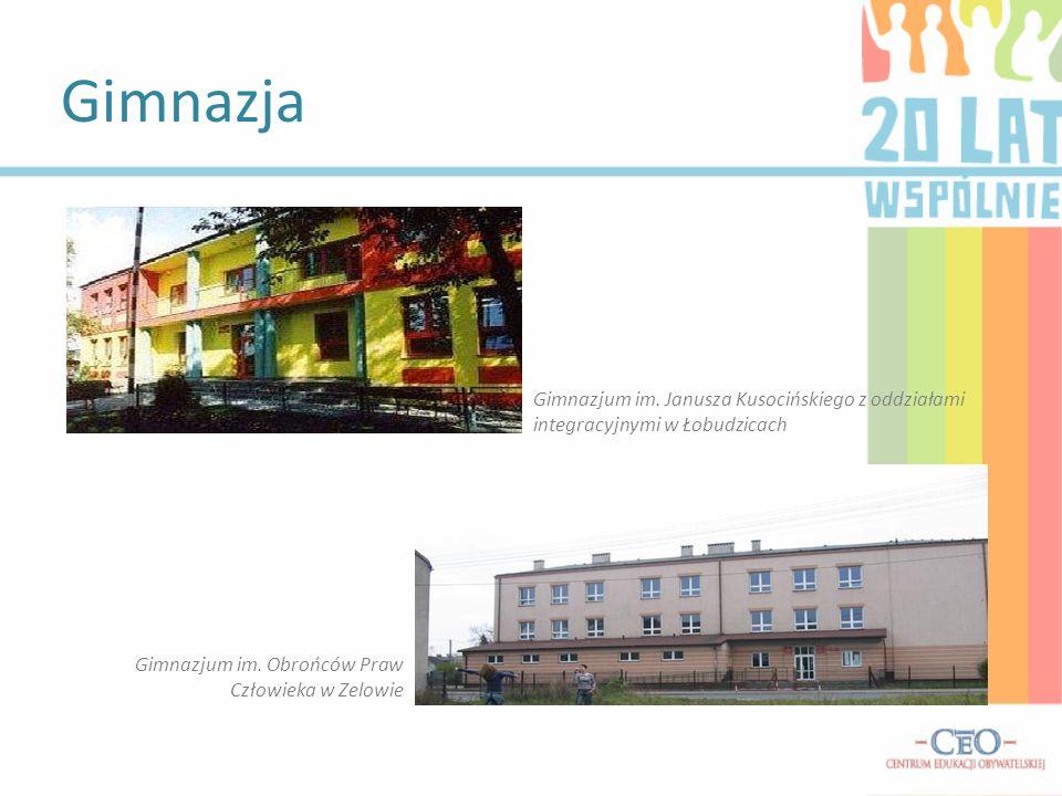 Gimnazja Gimnazjum im. Janusza Kusocińskiego z oddziałami integracyjnymi w Łobudzicach Gimnazjum im. Obrońców Praw Człowieka w Zelowie