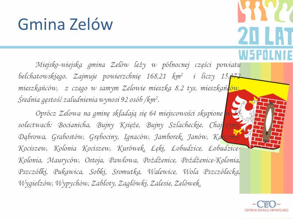 Miejsko-wiejska gmina Zelów leży w północnej części powiatu bełchatowskiego. Zajmuje powierzchnię 168,21 km 2 i liczy 15.372 mieszkańców, z czego w sa