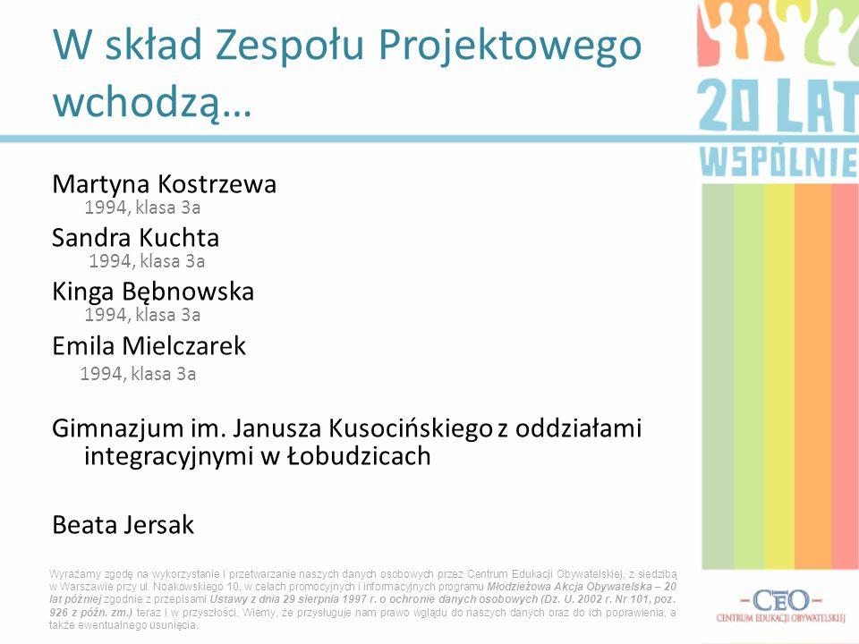 Martyna Kostrzewa 1994, klasa 3a Sandra Kuchta 1994, klasa 3a Kinga Bębnowska 1994, klasa 3a Emila Mielczarek 1994, klasa 3a Gimnazjum im. Janusza Kus