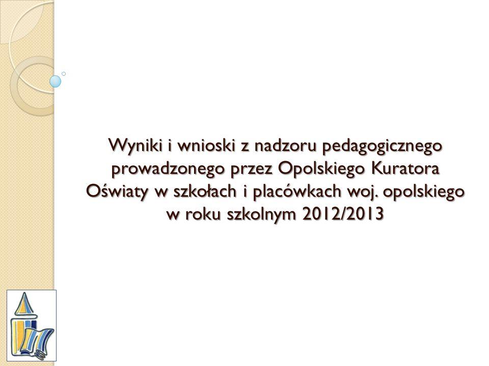 Wyniki i wnioski z nadzoru pedagogicznego prowadzonego przez Opolskiego Kuratora Oświaty w szkołach i placówkach woj. opolskiego w roku szkolnym 2012/