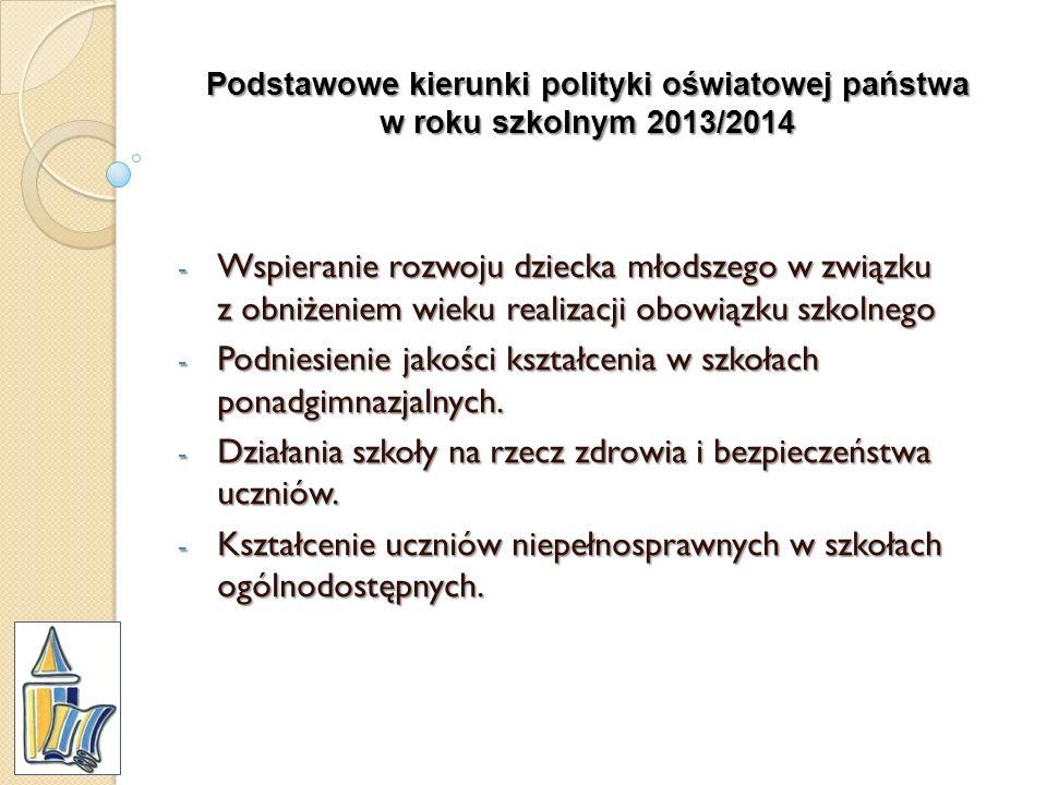 Podstawowe kierunki polityki oświatowej państwa w roku szkolnym 2013/2014 - Wspieranie rozwoju dziecka młodszego w związku z obniżeniem wieku realizac