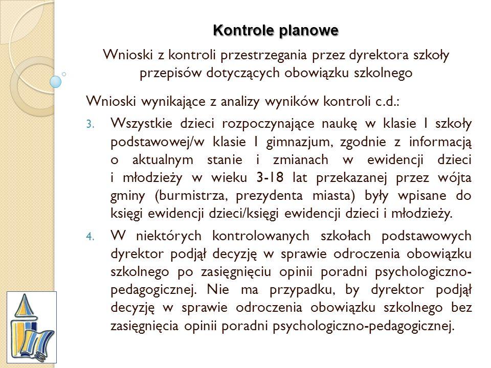 Kontrole planowe Wnioski z kontroli przestrzegania przez dyrektora szkoły przepisów dotyczących obowiązku szkolnego Wnioski wynikające z analizy wynik