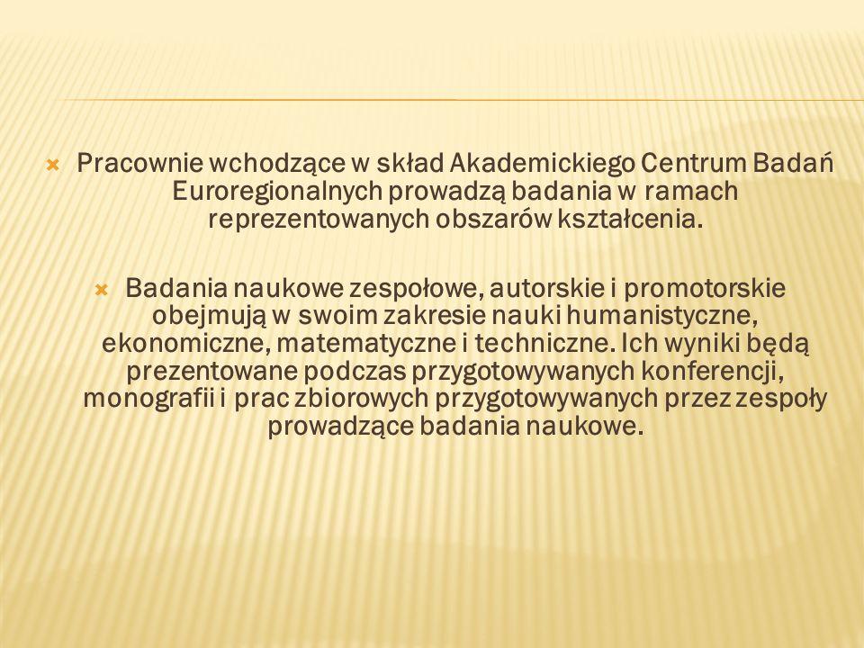 Pracownie wchodzące w skład Akademickiego Centrum Badań Euroregionalnych prowadzą badania w ramach reprezentowanych obszarów kształcenia.