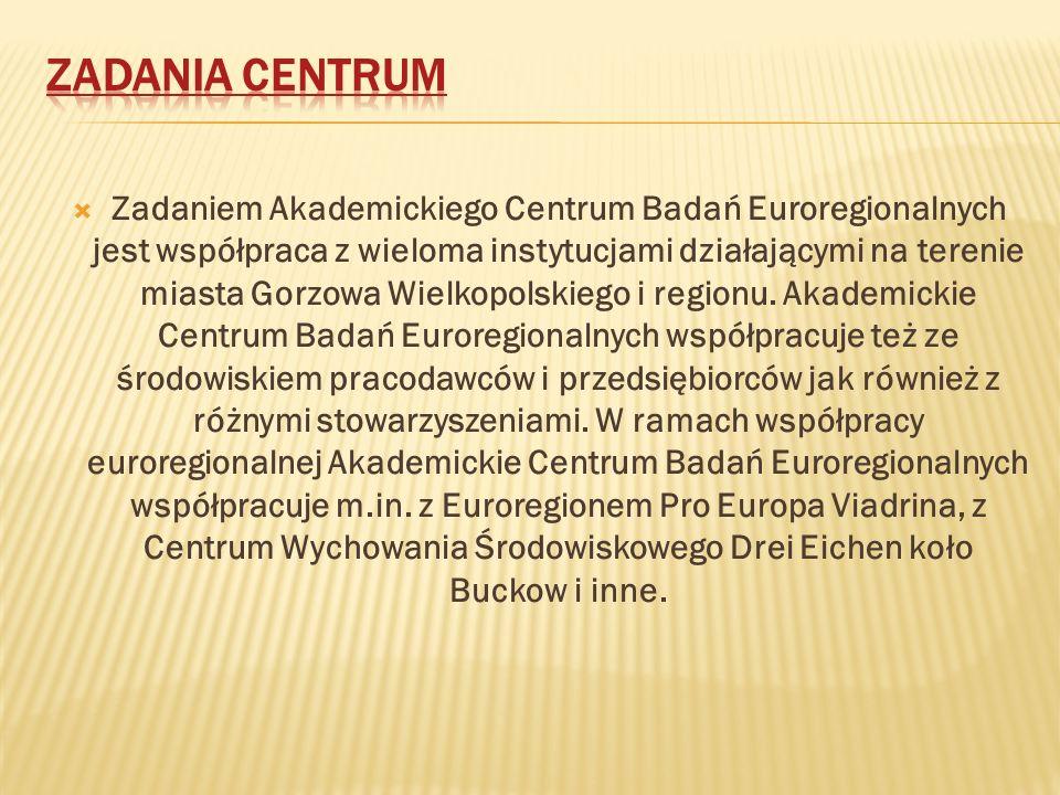 Zadaniem Akademickiego Centrum Badań Euroregionalnych jest współpraca z wieloma instytucjami działającymi na terenie miasta Gorzowa Wielkopolskiego i regionu.