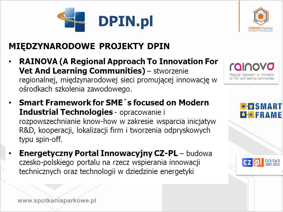 www.spotkaniaparkowe.pl MIĘDZYNARODOWE PROJEKTY DPIN RAINOVA (A Regional Approach To Innovation For Vet And Learning Communities) – stworzenie regiona
