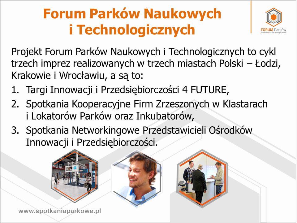 www.spotkaniaparkowe.pl Projekt Forum Parków Naukowych i Technologicznych to cykl trzech imprez realizowanych w trzech miastach Polski – Łodzi, Krakow