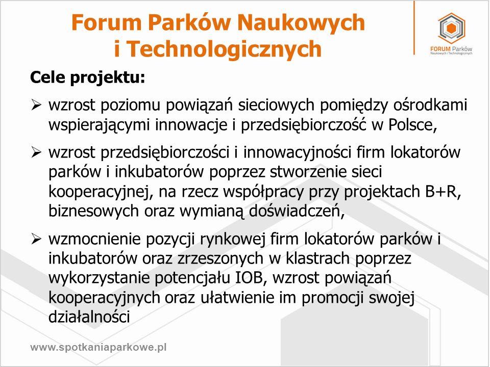 www.spotkaniaparkowe.pl Cele projektu: wzrost poziomu powiązań sieciowych pomiędzy ośrodkami wspierającymi innowacje i przedsiębiorczość w Polsce, wzr