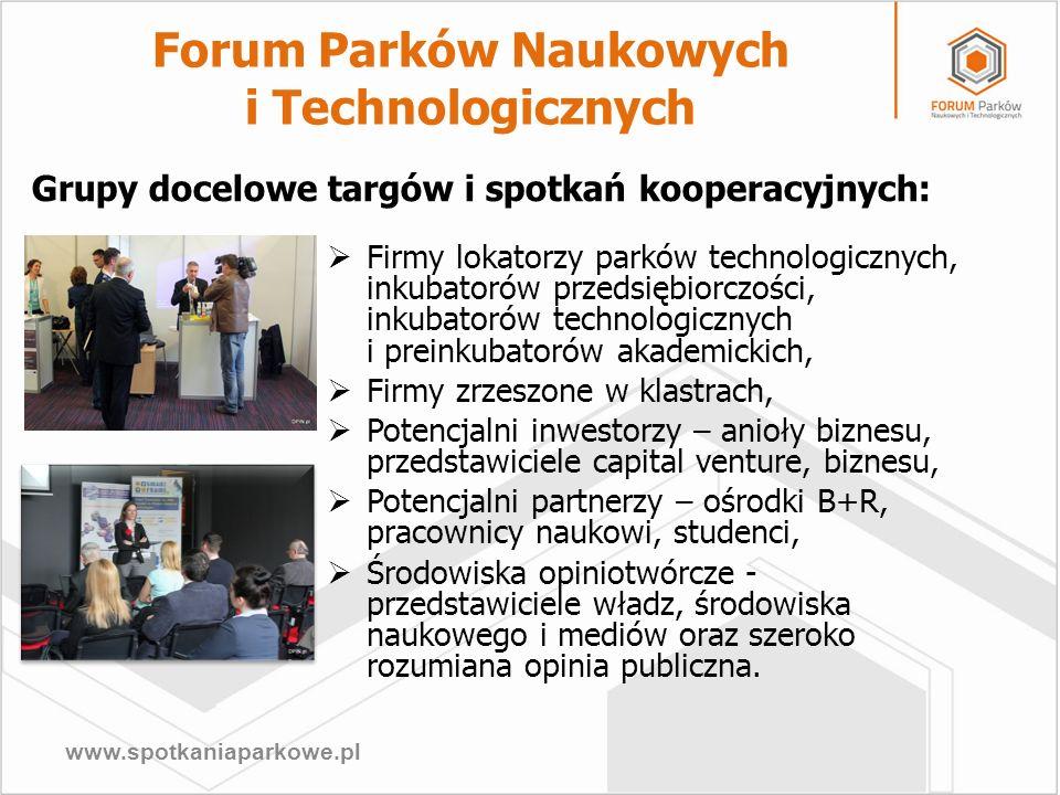 www.spotkaniaparkowe.pl Forum Parków Naukowych i Technologicznych Firmy lokatorzy parków technologicznych, inkubatorów przedsiębiorczości, inkubatorów
