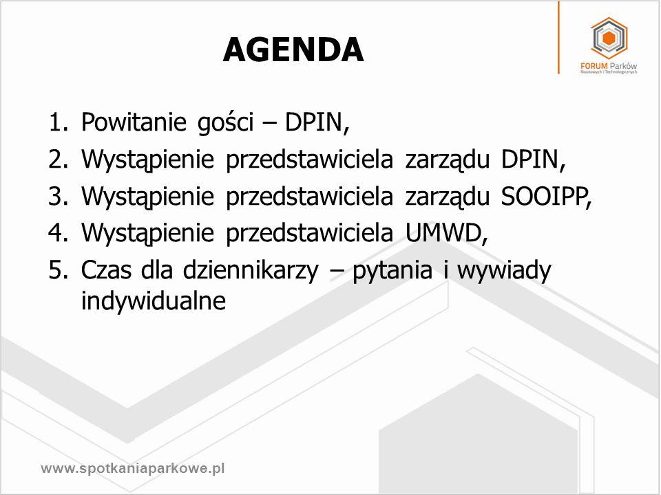 www.spotkaniaparkowe.pl AGENDA 1.Powitanie gości – DPIN, 2.Wystąpienie przedstawiciela zarządu DPIN, 3.Wystąpienie przedstawiciela zarządu SOOIPP, 4.W