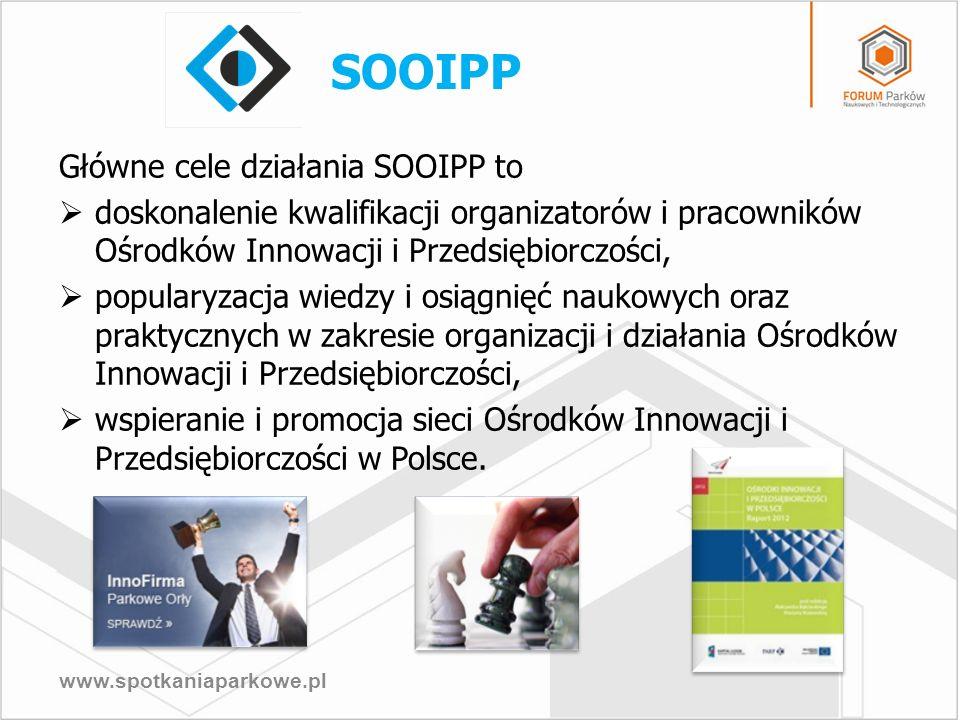 www.spotkaniaparkowe.pl Główne cele działania SOOIPP to doskonalenie kwalifikacji organizatorów i pracowników Ośrodków Innowacji i Przedsiębiorczości,