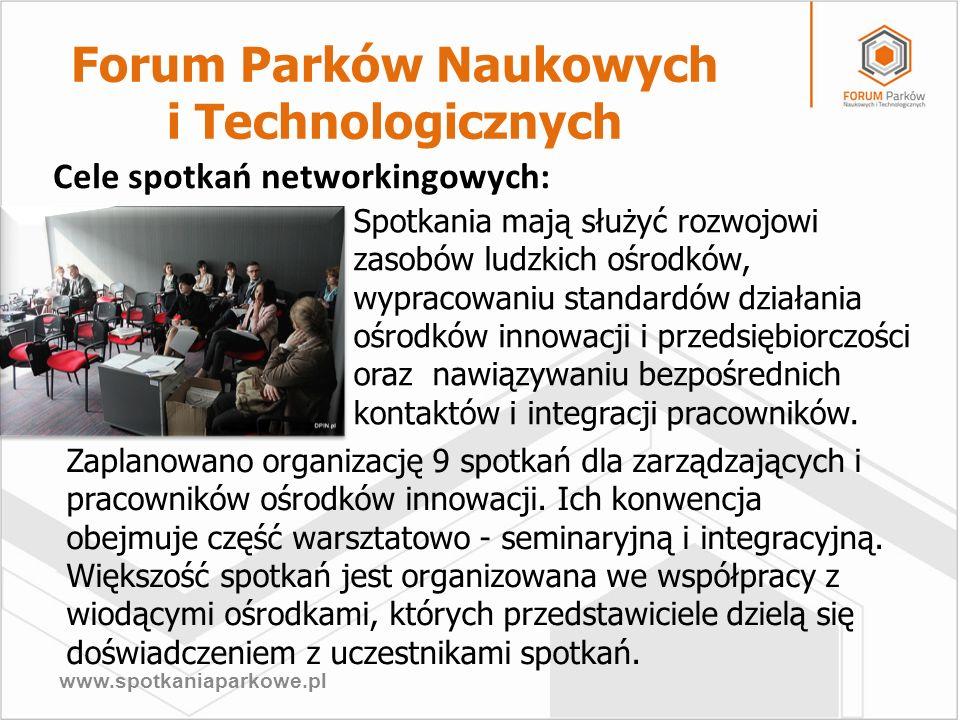 www.spotkaniaparkowe.pl Spotkania mają służyć rozwojowi zasobów ludzkich ośrodków, wypracowaniu standardów działania ośrodków innowacji i przedsiębior