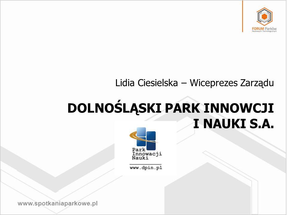 www.spotkaniaparkowe.pl DOLNOŚLĄSKI PARK INNOWCJI I NAUKI S.A. Lidia Ciesielska – Wiceprezes Zarządu