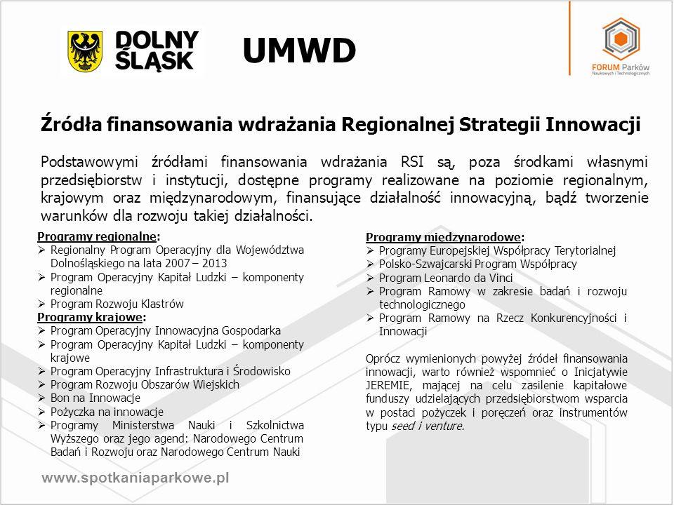 www.spotkaniaparkowe.pl Źródła finansowania wdrażania Regionalnej Strategii Innowacji Podstawowymi źródłami finansowania wdrażania RSI są, poza środka