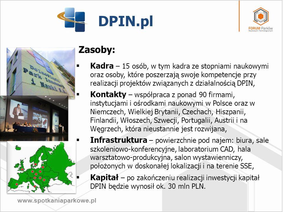 www.spotkaniaparkowe.pl DPIN.pl Zasoby: Kadra – 15 osób, w tym kadra ze stopniami naukowymi oraz osoby, które poszerzają swoje kompetencje przy realiz