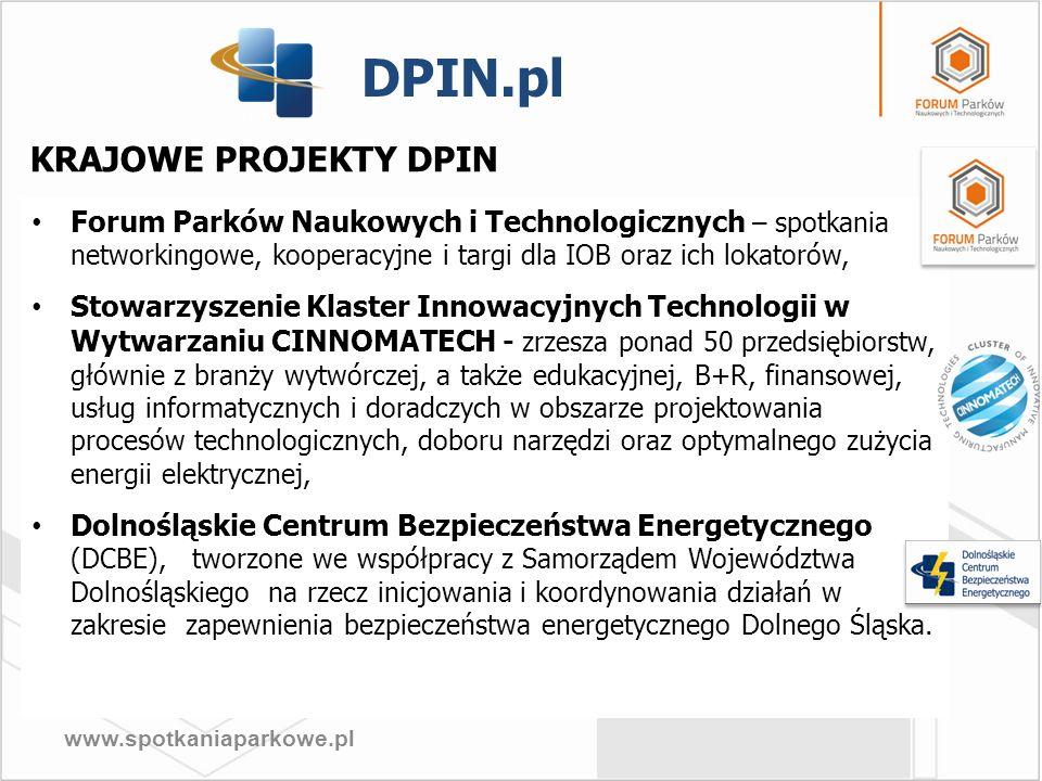 www.spotkaniaparkowe.pl KRAJOWE PROJEKTY DPIN Forum Parków Naukowych i Technologicznych – spotkania networkingowe, kooperacyjne i targi dla IOB oraz i