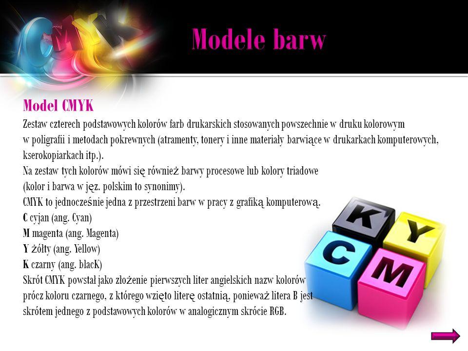 Model CMYK Zestaw czterech podstawowych kolorów farb drukarskich stosowanych powszechnie w druku kolorowym w poligrafii i metodach pokrewnych (atramenty, tonery i inne materiały barwi ą ce w drukarkach komputerowych, kserokopiarkach itp.).