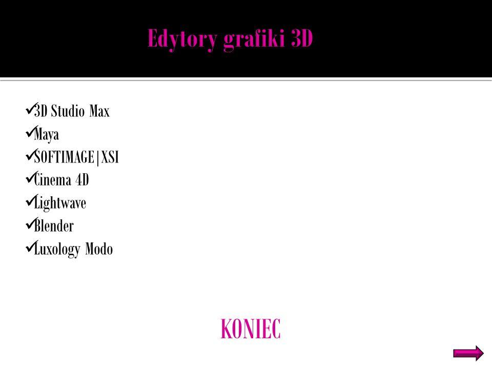 3D Studio Max Maya SOFTIMAGE|XSI Cinema 4D Lightwave Blender Luxology Modo KONIEC