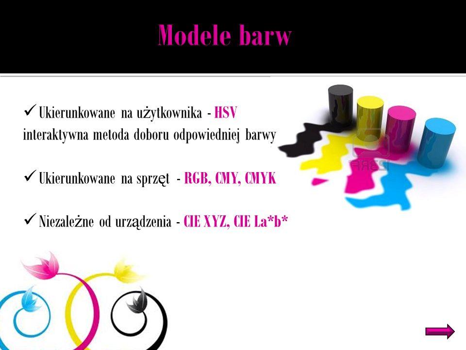 Ukierunkowane na u ż ytkownika - HSV interaktywna metoda doboru odpowiedniej barwy Ukierunkowane na sprz ę t - RGB, CMY, CMYK Niezale ż ne od urz ą dzenia - CIE XYZ, CIE La*b*