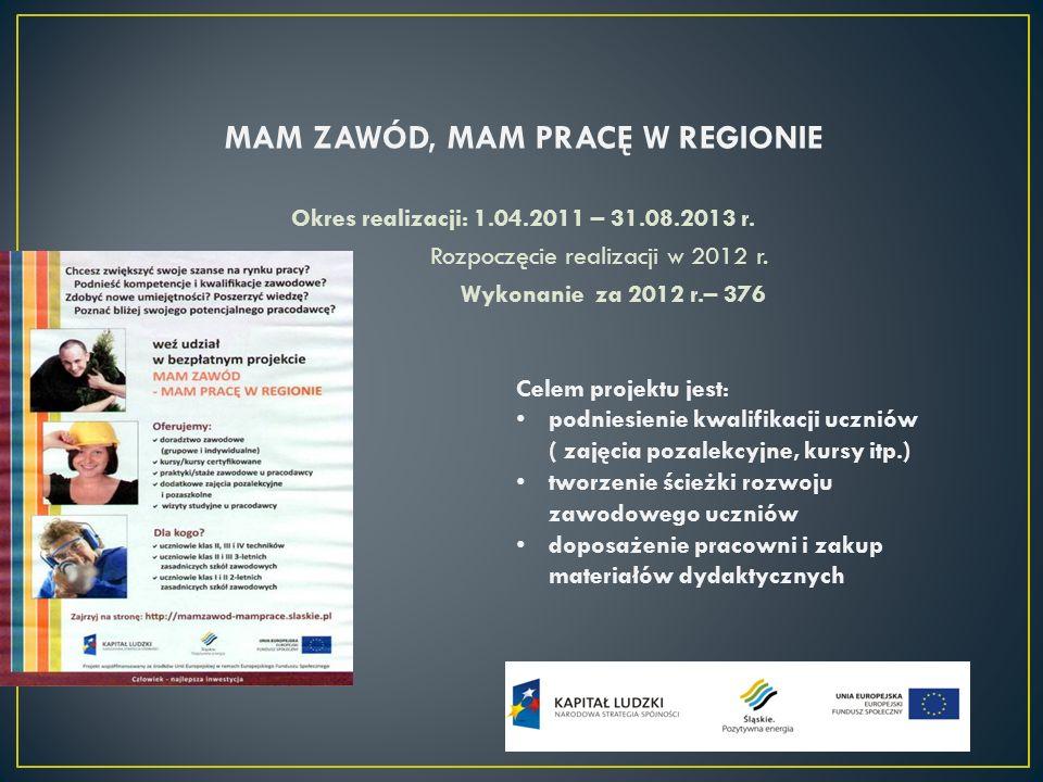 MAM ZAWÓD, MAM PRACĘ W REGIONIE Okres realizacji: 1.04.2011 – 31.08.2013 r. Rozpoczęcie realizacji w 2012 r. Wykonanie za 2012 r.– 376 Celem projektu
