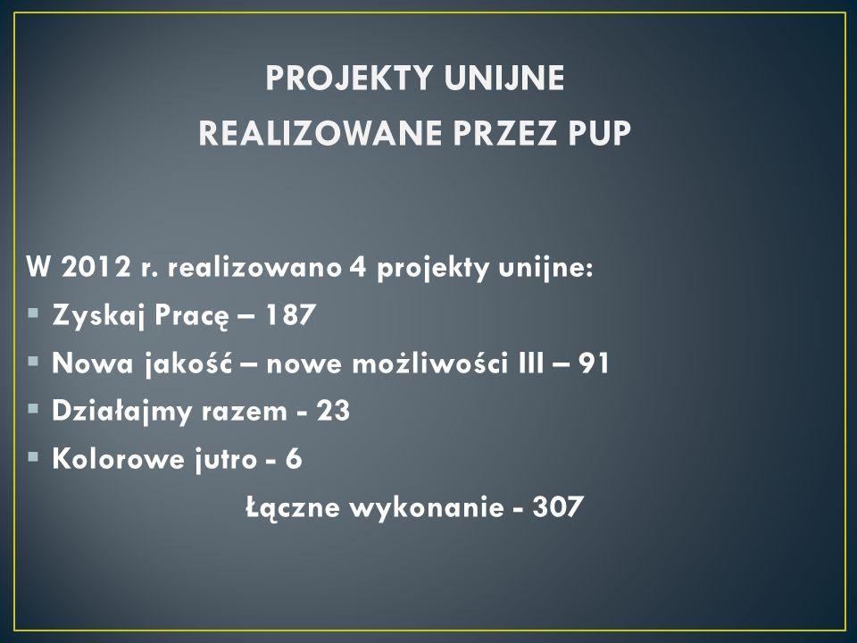 PROJEKTY UNIJNE REALIZOWANE PRZEZ PUP W 2012 r. realizowano 4 projekty unijne: Zyskaj Pracę – 187 Nowa jakość – nowe możliwości III – 91 Działajmy raz