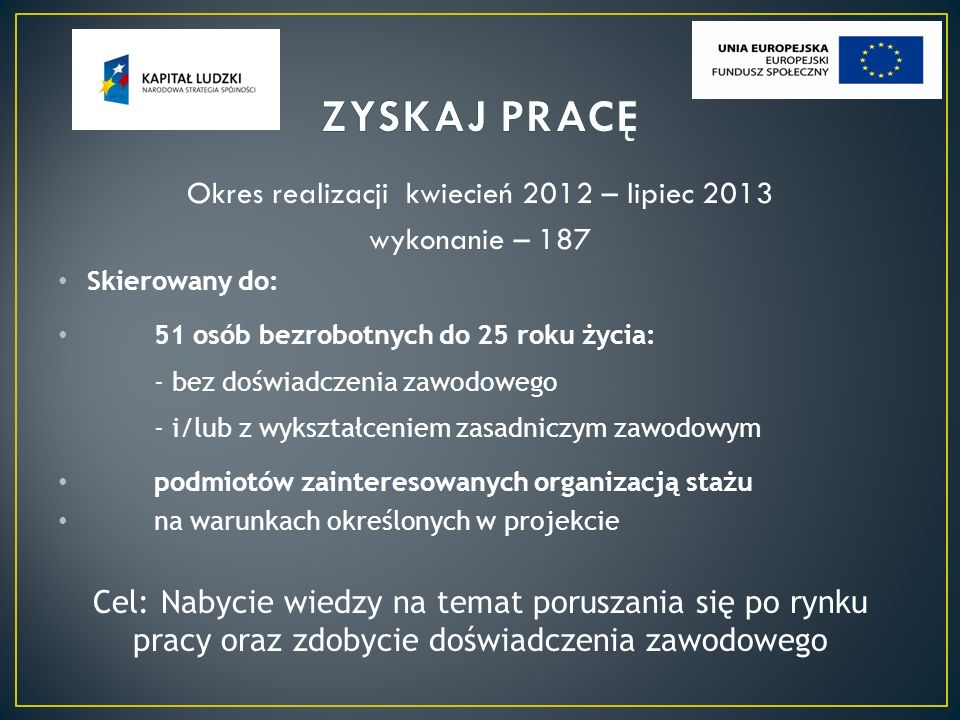 Okres realizacji kwiecień 2012 – lipiec 2013 wykonanie – 187 Skierowany do: 51 osób bezrobotnych do 25 roku życia: - bez doświadczenia zawodowego - i/lub z wykształceniem zasadniczym zawodowym podmiotów zainteresowanych organizacją stażu na warunkach określonych w projekcie Cel: Nabycie wiedzy na temat poruszania się po rynku pracy oraz zdobycie doświadczenia zawodowego