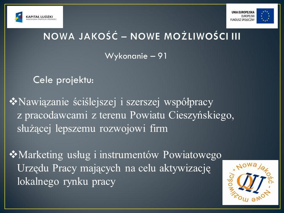 Nawiązanie ściślejszej i szerszej współpracy z pracodawcami z terenu Powiatu Cieszyńskiego, służącej lepszemu rozwojowi firm Marketing usług i instrumentów Powiatowego Urzędu Pracy mających na celu aktywizację lokalnego rynku pracy Wykonanie – 91 Cele projektu:
