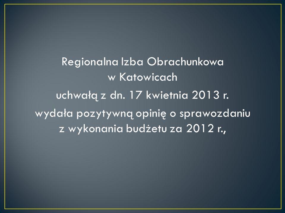 Regionalna Izba Obrachunkowa w Katowicach uchwałą z dn. 17 kwietnia 2013 r. wydała pozytywną opinię o sprawozdaniu z wykonania budżetu za 2012 r.,