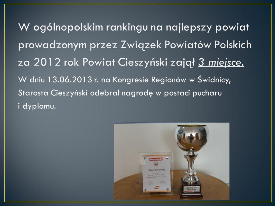 W ogólnopolskim rankingu na najlepszy powiat prowadzonym przez Związek Powiatów Polskich za 2012 rok Powiat Cieszyński zajął 3 miejsce.