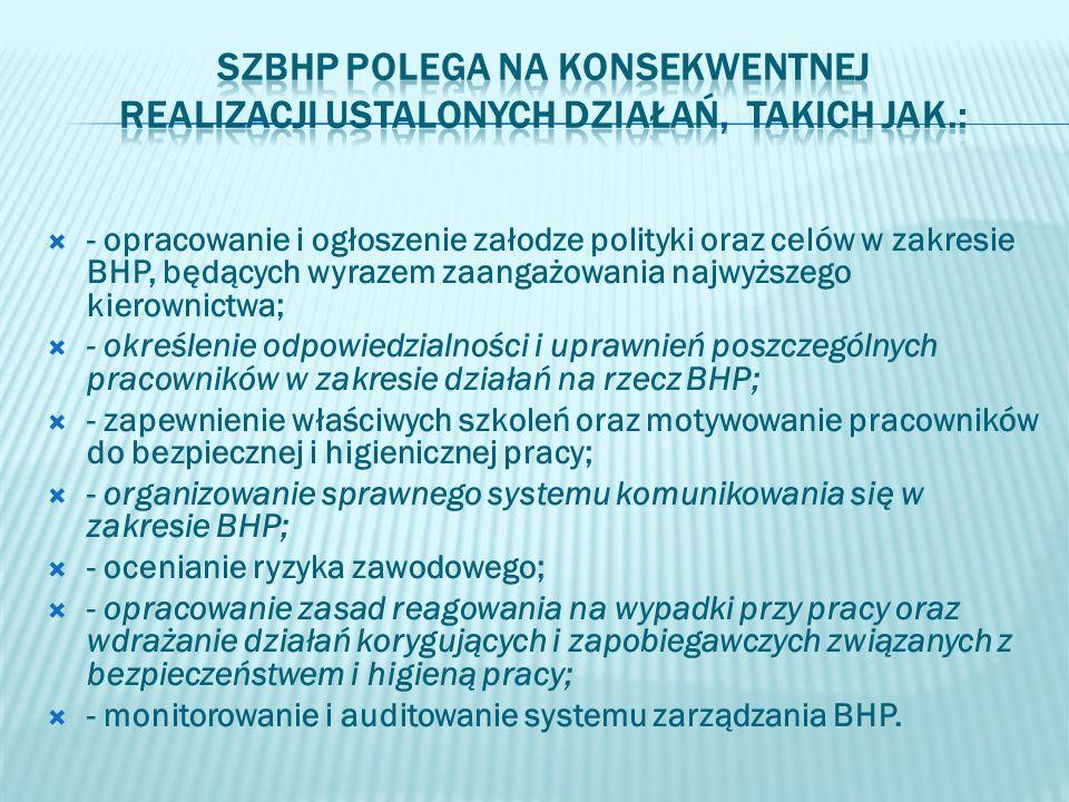 - opracowanie i ogłoszenie załodze polityki oraz celów w zakresie BHP, będących wyrazem zaangażowania najwyższego kierownictwa; - określenie odpowiedz