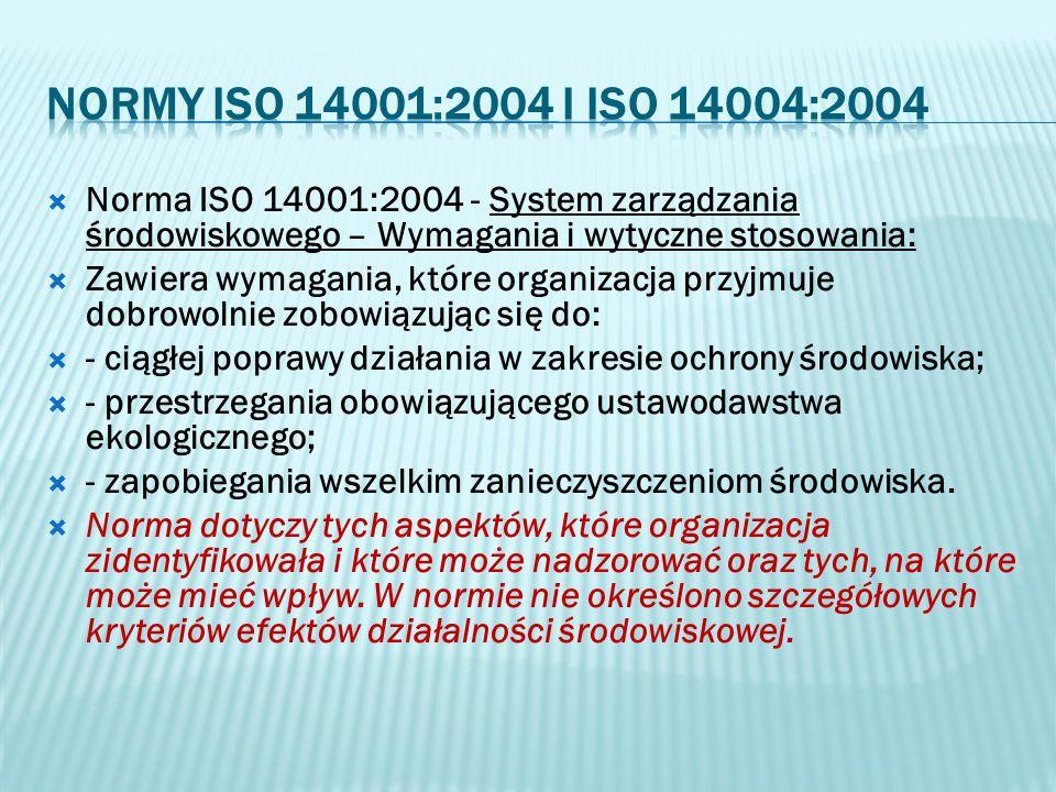 Norma ISO 14001:2004 - System zarządzania środowiskowego – Wymagania i wytyczne stosowania: Zawiera wymagania, które organizacja przyjmuje dobrowolnie
