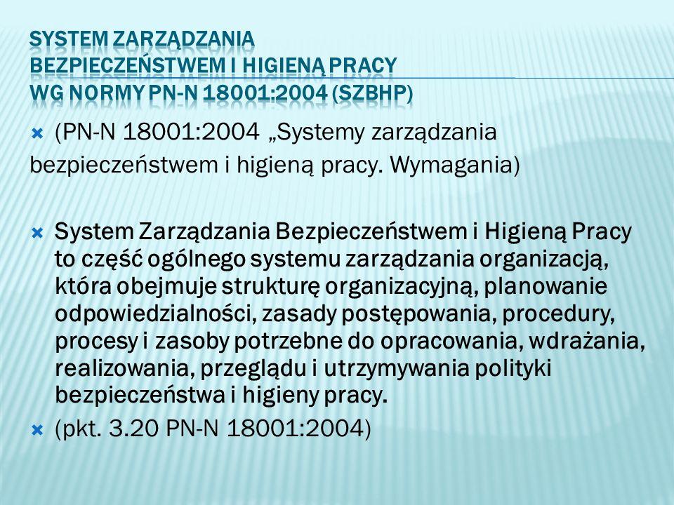 (PN-N 18001:2004 Systemy zarządzania bezpieczeństwem i higieną pracy. Wymagania) System Zarządzania Bezpieczeństwem i Higieną Pracy to część ogólnego