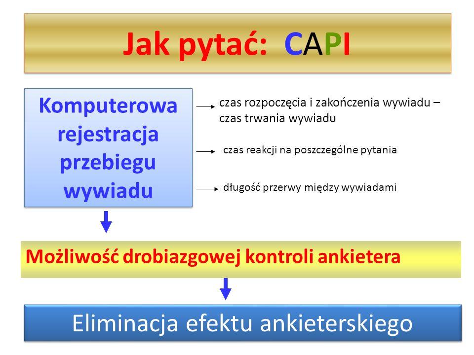 Jak pytać: CAPI Możliwość drobiazgowej kontroli ankietera Komputerowa rejestracja przebiegu wywiadu czas rozpoczęcia i zakończenia wywiadu – czas trwa