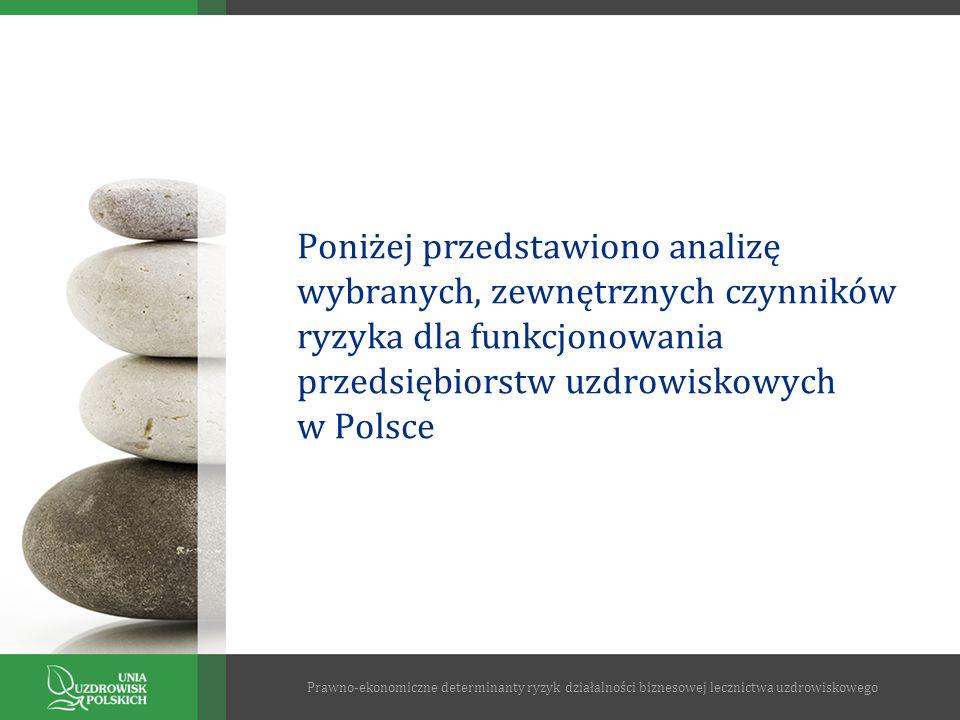 Poniżej przedstawiono analizę wybranych, zewnętrznych czynników ryzyka dla funkcjonowania przedsiębiorstw uzdrowiskowych w Polsce Prawno-ekonomiczne d