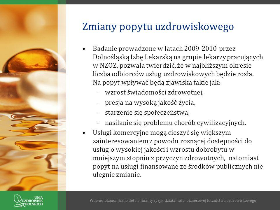 Zmiany popytu uzdrowiskowego Badanie prowadzone w latach 2009-2010 przez Dolnośląską Izbę Lekarską na grupie lekarzy pracujących w NZOZ, pozwala twier