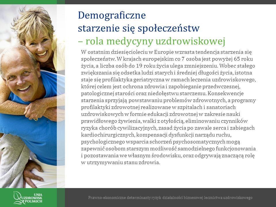 Demograficzne starzenie się społeczeństw – rola medycyny uzdrowiskowej Prawno-ekonomiczne determinanty ryzyk działalności biznesowej lecznictwa uzdrow