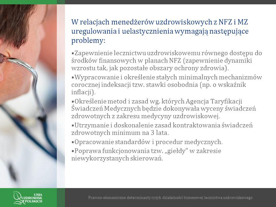 W relacjach menedżerów uzdrowiskowych z NFZ i MZ uregulowania i uelastycznienia wymagają następujące problemy: Zapewnienie lecznictwu uzdrowiskowemu r