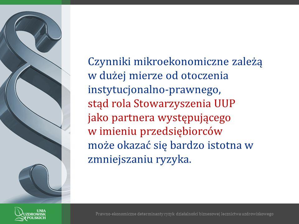 Czynniki mikroekonomiczne zależą w dużej mierze od otoczenia instytucjonalno-prawnego, stąd rola Stowarzyszenia UUP jako partnera występującego w imie