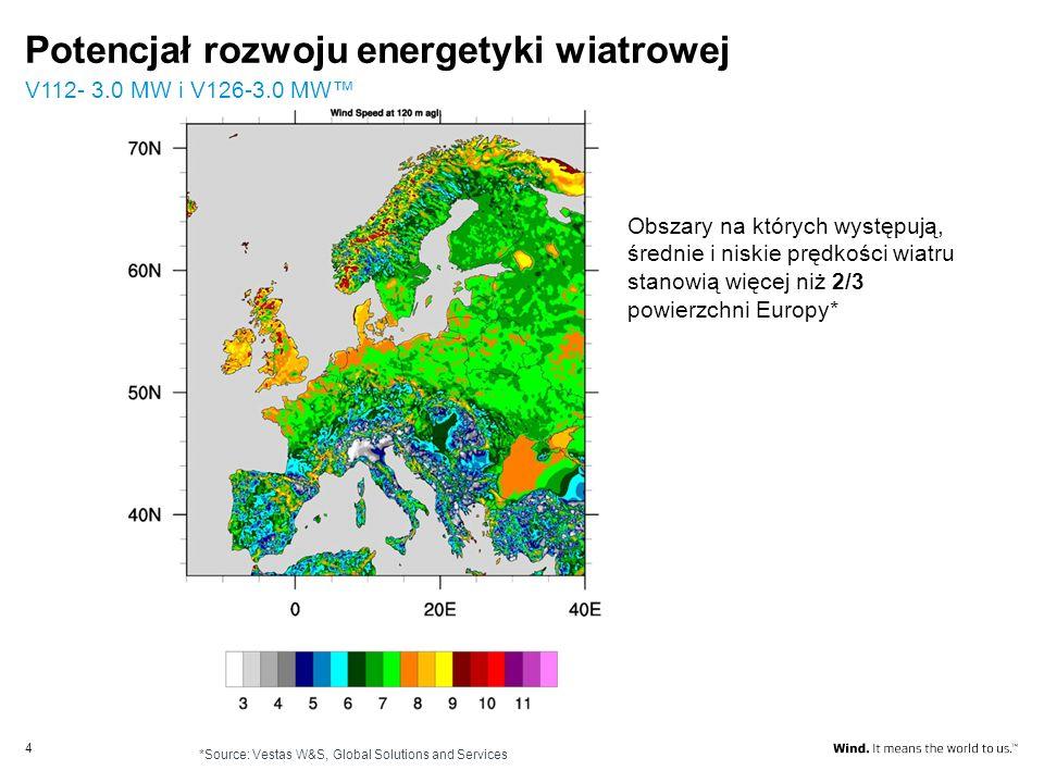 Potencjał rozwoju energetyki wiatrowej V112- 3.0 MW i V126-3.0 MW 4 Obszary na których występują, średnie i niskie prędkości wiatru stanowią więcej ni