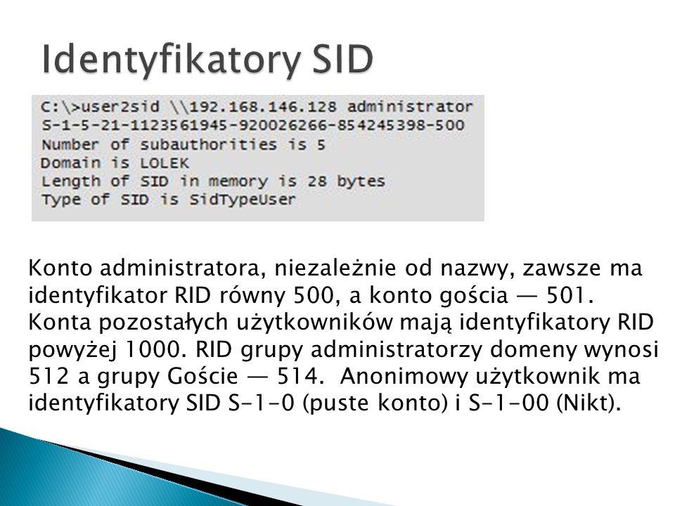 Konto administratora, niezależnie od nazwy, zawsze ma identyfikator RID równy 500, a konto gościa 501. Konta pozostałych użytkowników mają identyfikat